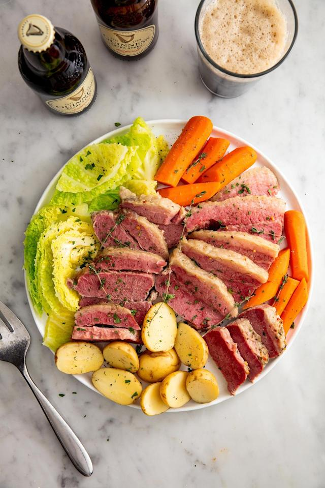 """<p>St. Patrick himself would approve.</p><p>Get the recipe from <a href=""""https://www.delish.com/cooking/recipe-ideas/recipes/a57965/slow-cooker-corned-beef-and-cabbage-recipe/"""" target=""""_blank"""">Delish</a>. </p>"""