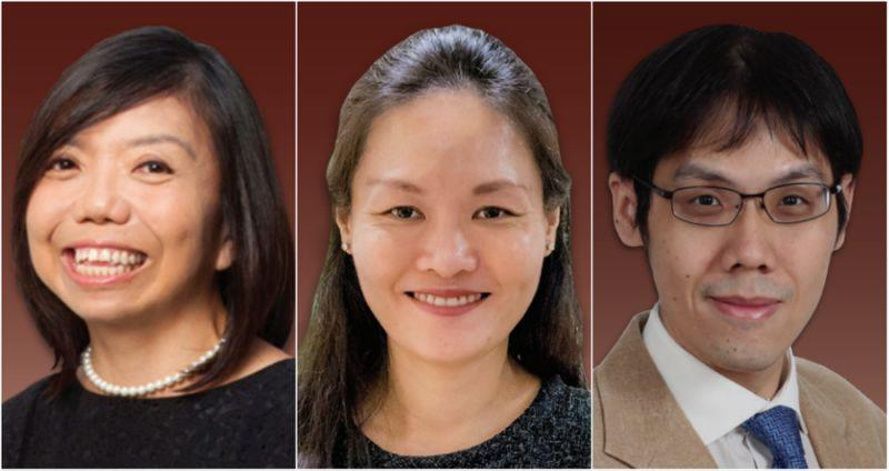 From left to right: Nominated Members of Parliament Anthea Ong, Irene Quay, and Walter Theseira. (PHOTOS: parliament.gov.sg)