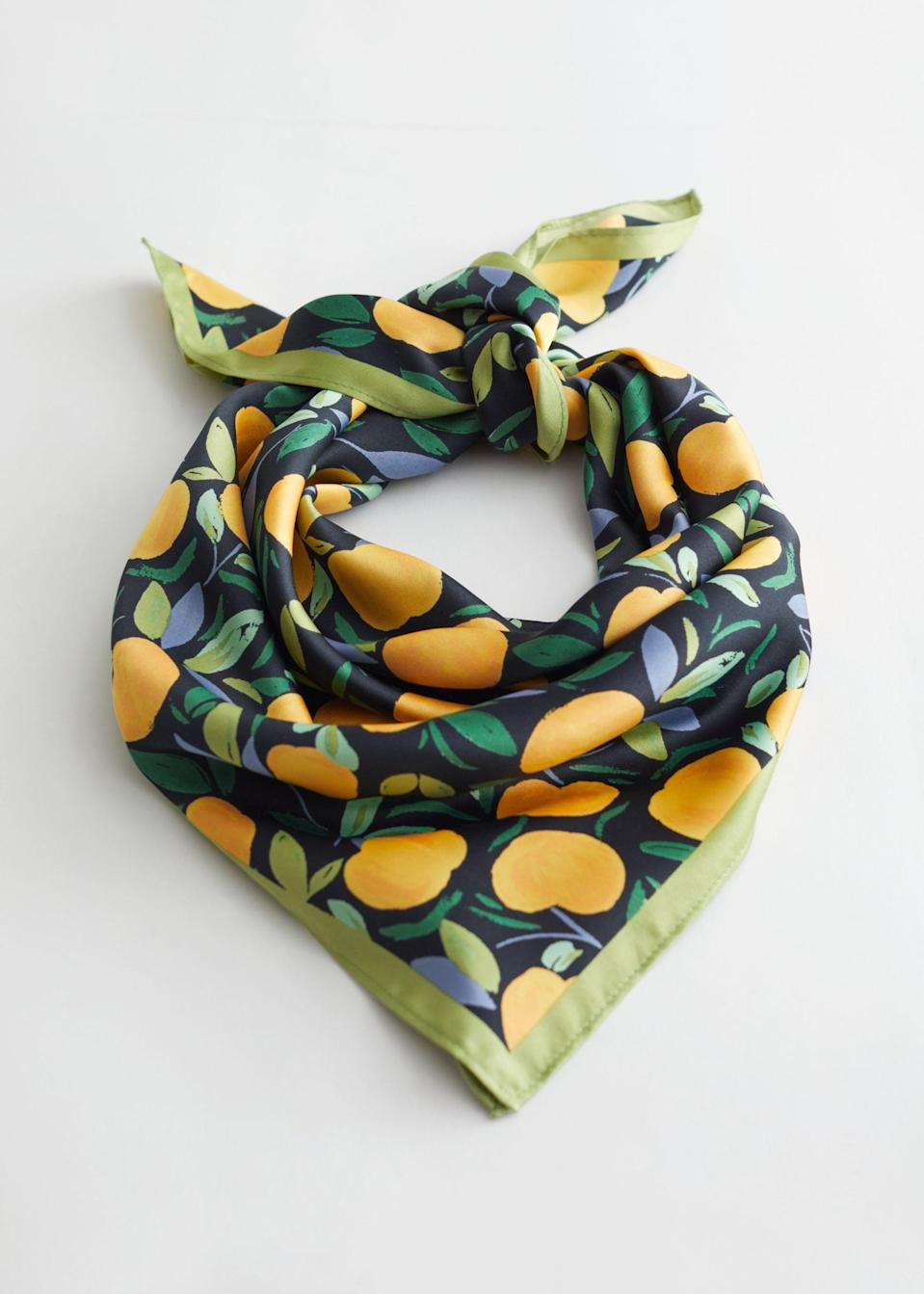 <p><span>&amp; Other Stories Apricot Print Scarf</span> ($39)</p>