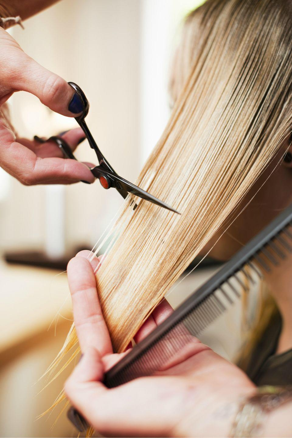 """<p>Make a standing <a href=""""https://www.womansday.com/hairstyles/"""" rel=""""nofollow noopener"""" target=""""_blank"""" data-ylk=""""slk:hair appointment"""" class=""""link rapid-noclick-resp"""">hair appointment</a>, so you don't have to keep bumping it down on your to-do list. </p>"""