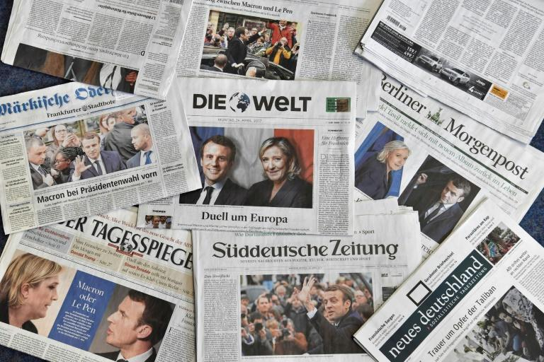 The French presidential race result made front-page news across Europe, including in fellow EU heavyweight Germany