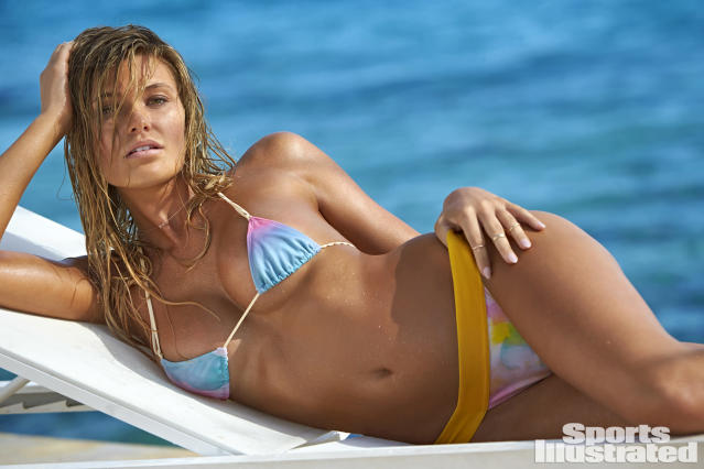 "<p>Samantha Hoopes was photographed by Ben Watts in Curacao. Swimsuit by <a href=""http://www.shophausofpinklemonaid.com/"" rel=""nofollow noopener"" target=""_blank"" data-ylk=""slk:HAUS OF PINKLEMONAID."" class=""link rapid-noclick-resp"">HAUS OF PINKLEMONAID.</a></p>"
