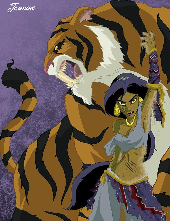"""<p>Don't show these ladies to the kids, because they practically guarantee nightmares. Here, Princess Jasmine and her ferocious sidekick practically scream """"danger!"""" We shudder to think what sort of shape Aladdin is in… <i>(Photo: <a href=""""http://www.jeftoonportfolio.blogspot.com/"""" rel=""""nofollow noopener"""" target=""""_blank"""" data-ylk=""""slk:Jeffrey Thomas"""" class=""""link rapid-noclick-resp"""">Jeffrey Thomas</a>)</i><br></p>"""