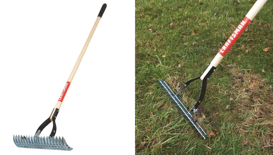 Mann recommends a thatching rake for planting new grass seed. (Photo: Lowe's)