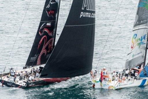 PUMA Ocean Racing powered by BERG,  challenges Team Sanya, at the start of the Volvo Ocean Race leg 7