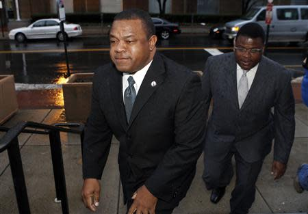 File photo of Trenton New Jersey Mayor Tony Mack and his brother Ralphiel Mack arriving at United States Court in Trenton