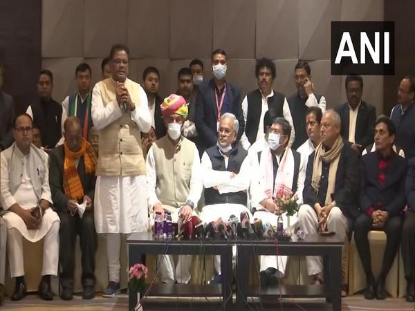 Visual of Assam Congress addressing the press conference (Photo/ANI)