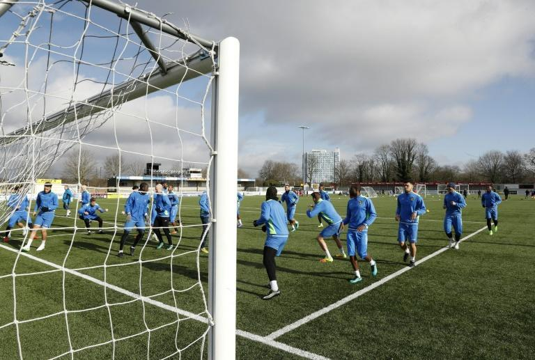 Sutton United players take part in training session ahead of their FA Cup fifth round match at The Borough Sports Ground in south-west London, on February 16, 2017