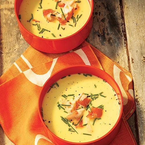 """<p>This chilled soup is full of delectably sweet fresh corn and gorgeous pieces of king crab legs.</p> <p> <a rel=""""nofollow noopener"""" href=""""http://www.myrecipes.com/recipe/chilled-fresh-corn-soup-with-k"""" target=""""_blank"""" data-ylk=""""slk:View Recipe: Chilled Fresh Corn Soup with King Crab"""" class=""""link rapid-noclick-resp"""">View Recipe: Chilled Fresh Corn Soup with King Crab</a></p>"""