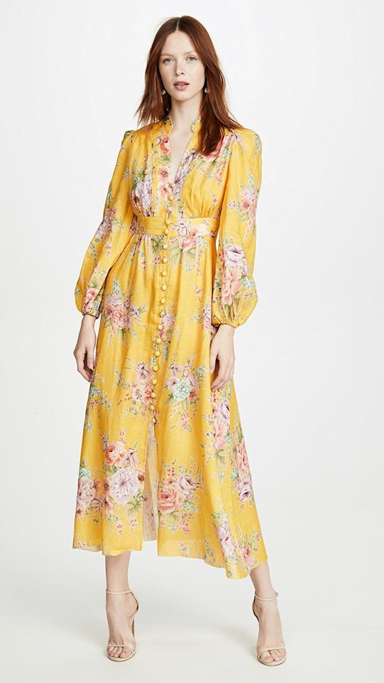 """<p>We'll be dreaming about this <a href=""""https://www.popsugar.com/buy/Zimmermann-Zinnia-Button-Front-Long-Dress-542142?p_name=Zimmermann%20Zinnia%20Button%20Front%20Long%20Dress&retailer=shopbop.com&pid=542142&price=695&evar1=fab%3Aus&evar9=45700553&evar98=https%3A%2F%2Fwww.popsugar.com%2Ffashion%2Fphoto-gallery%2F45700553%2Fimage%2F47131138%2FZimmermann-Zinnia-Button-Front-Long-Dress&list1=shopping%2Cfall%20fashion%2Cdresses%2Cfall%2Cwinter%2Cwedding%20guests%2Cwinter%20fashion%2Cwedding%20guest%20dresses&prop13=mobile&pdata=1"""" rel=""""nofollow"""" data-shoppable-link=""""1"""" target=""""_blank"""" class=""""ga-track"""" data-ga-category=""""Related"""" data-ga-label=""""https://www.shopbop.com/zinnia-button-front-long-dress/vp/v=1/1560534610.htm?folderID=5090&amp;fm=other-shopbysize-viewall&amp;os=false&amp;colorId=87388&amp;ref=SB_PLP_NB_1"""" data-ga-action=""""In-Line Links"""">Zimmermann Zinnia Button Front Long Dress</a> ($695).</p>"""