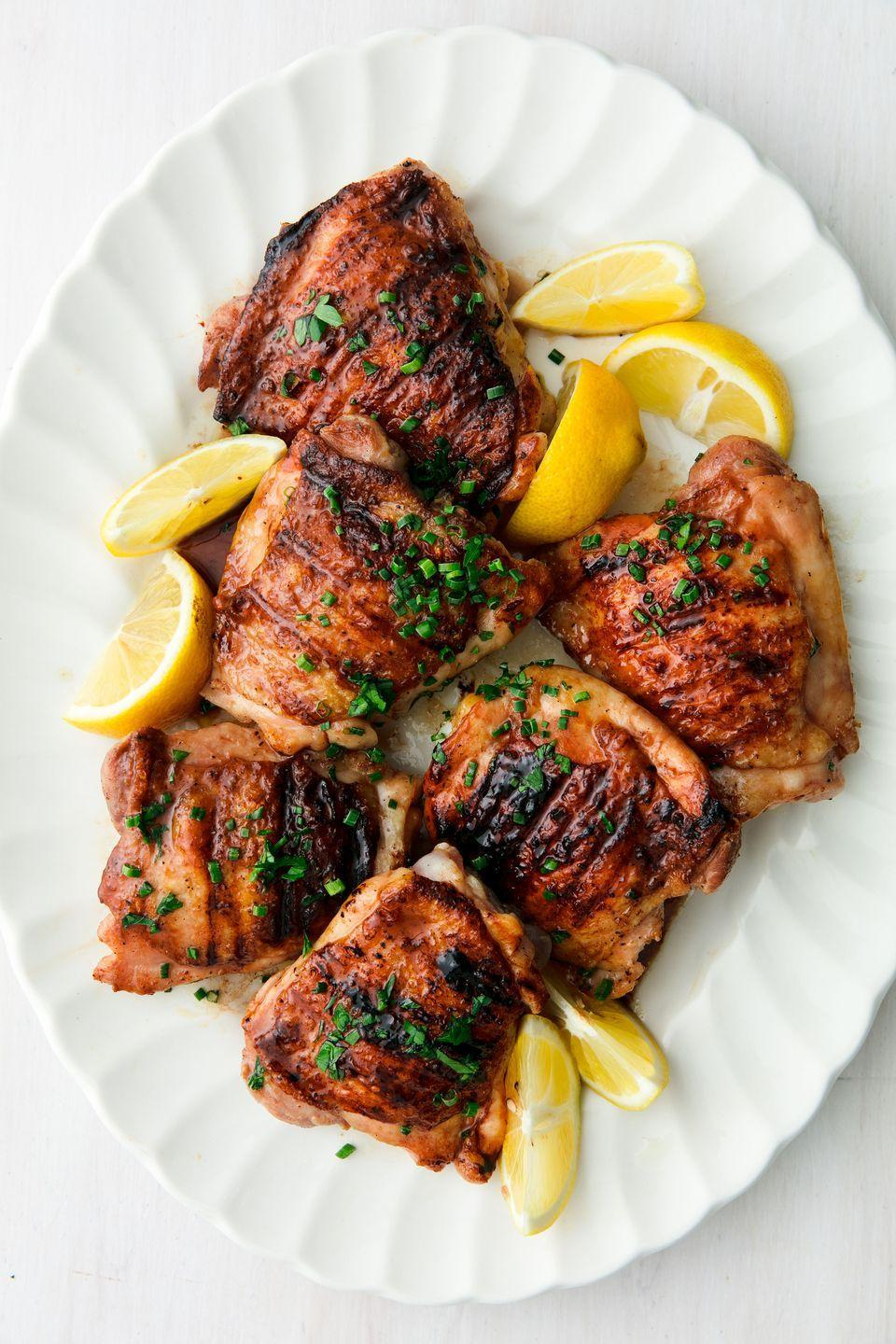 """<p>Can't go wrong with honey balsamic. </p><p>Get the recipe from <a href=""""https://www.delish.com/cooking/recipe-ideas/a22022842/best-grilled-chicken-thighs-recipe/"""" rel=""""nofollow noopener"""" target=""""_blank"""" data-ylk=""""slk:Delish."""" class=""""link rapid-noclick-resp"""">Delish. </a></p><p><a class=""""link rapid-noclick-resp"""" href=""""https://www.amazon.com/Lodge-LPGI3-Reversible-Griddle-10-44-inch/dp/B00008GKDQ?tag=syn-yahoo-20&ascsubtag=%5Bartid%7C1782.g.2180%5Bsrc%7Cyahoo-us"""" rel=""""nofollow noopener"""" target=""""_blank"""" data-ylk=""""slk:BUY NOW"""">BUY NOW</a> <strong><em>Lodge Cast Iron Reversible Grill/Griddle, $45, amazon.com</em></strong><br></p>"""