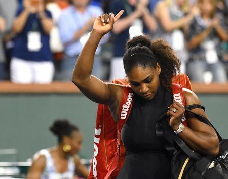 Mar 12, 2018; Indian Wells, CA, USA; Serena Williams (USA) leaves the court after she was defeated by Venus Williams in her third round match in the BNP Paribas Open at the Indian Wells Tennis Garden. Mandatory Credit: Jayne Kamin-Oncea-USA TODAY Sports