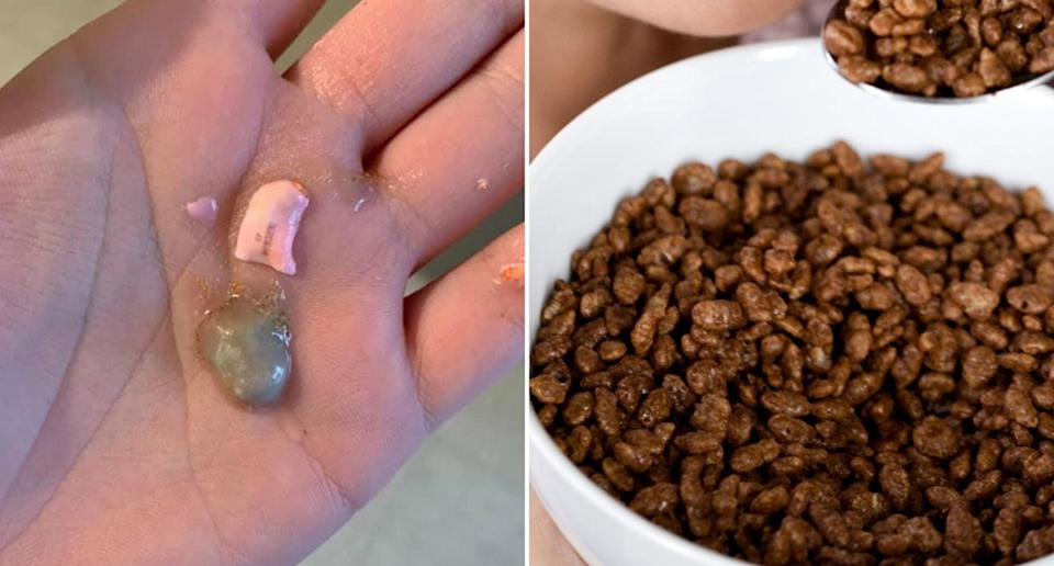 Karlee Tweedie, from Booragul, Lake Macquarie claims she found a Duromine pill in her son's Coco Pops. Source: Facebook/ Karlee Tweedie and Getty Images (file pic)