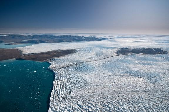 This relatively small outlet glacier is just one of hundreds (there are many much larger) that move ice from the interior of the Greenland ice sheet out to the ocean.