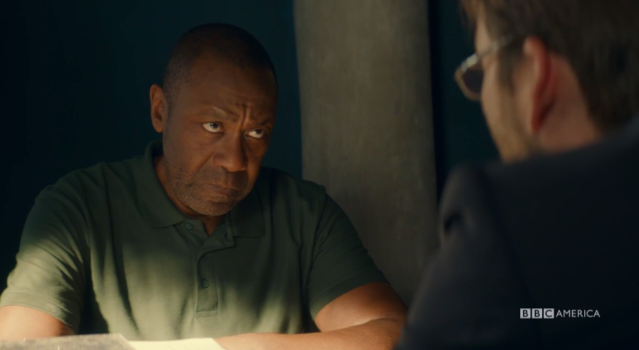 Ed Burnett (Lenny Henry) is questioned. (Photo: BBC America)