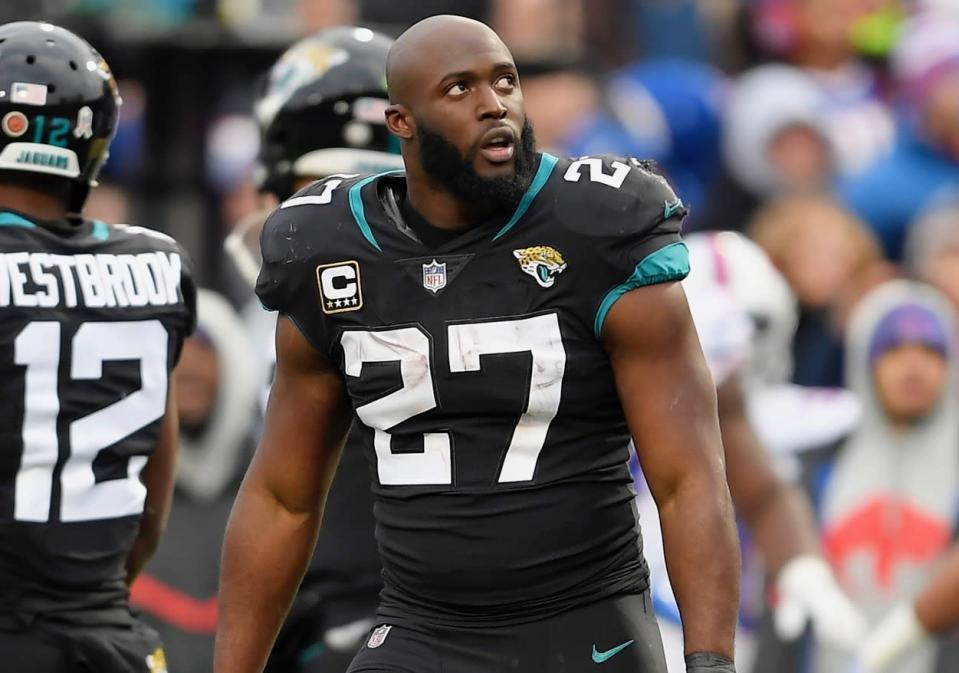 Leonard Fournette was issued a suspension in addition to his ejection Sunday for leaving the sideline to fight. (AP)