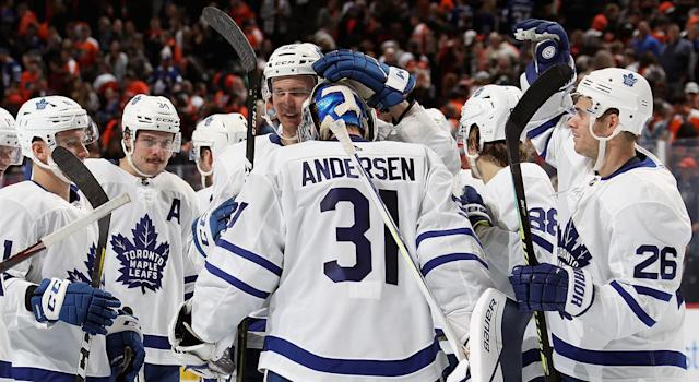 Andersen bailed out the Leafs in Philly. (Photo by Len Redkoles/NHLI via Getty Images)