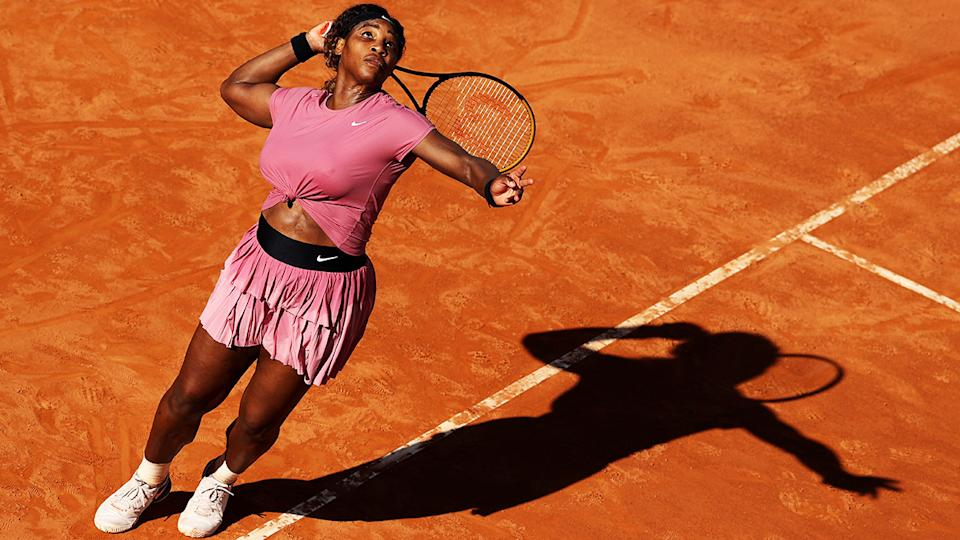 Serena Williams, pictured here in action against Nadia Podoroska at the Italian Open.