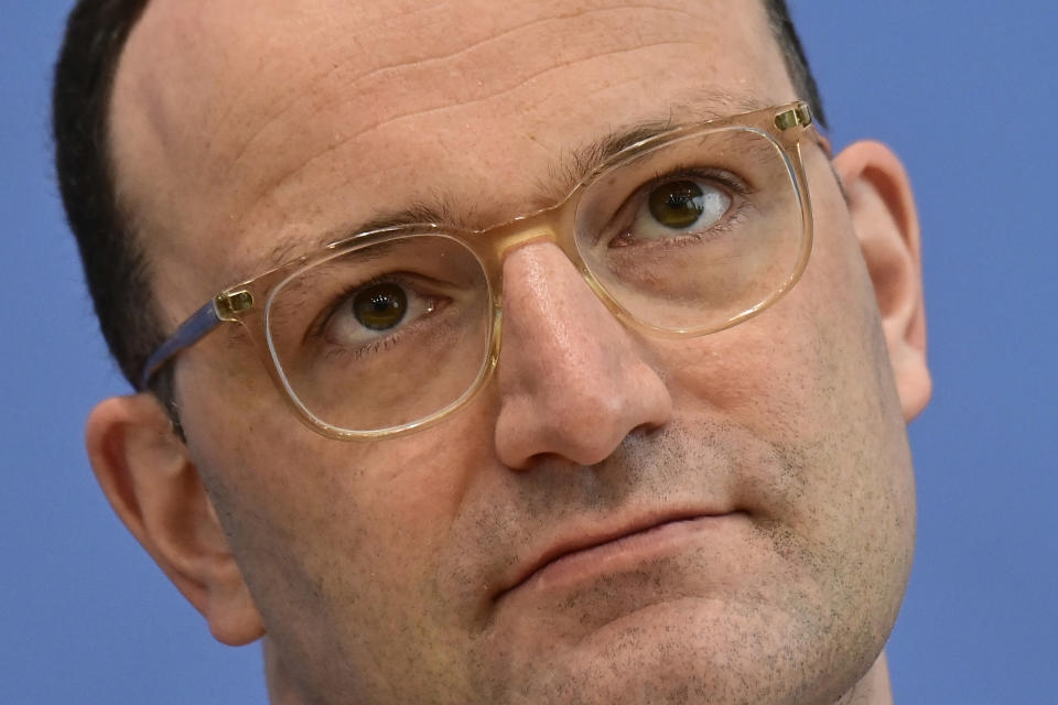 German Health Minister Jens Spahn attends a press conference on the situation of the coronavirus (Covid-19) pandemic in Germany, in Berlin on May 12, 2021. (Tobias Schwarz/AP via Pool)