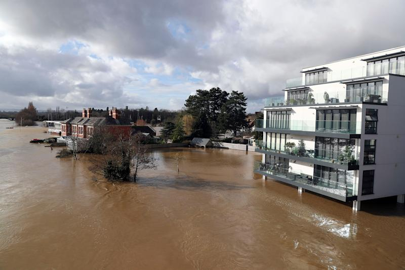 A flooded rRver Wye in Hereford. (Photo: PA)