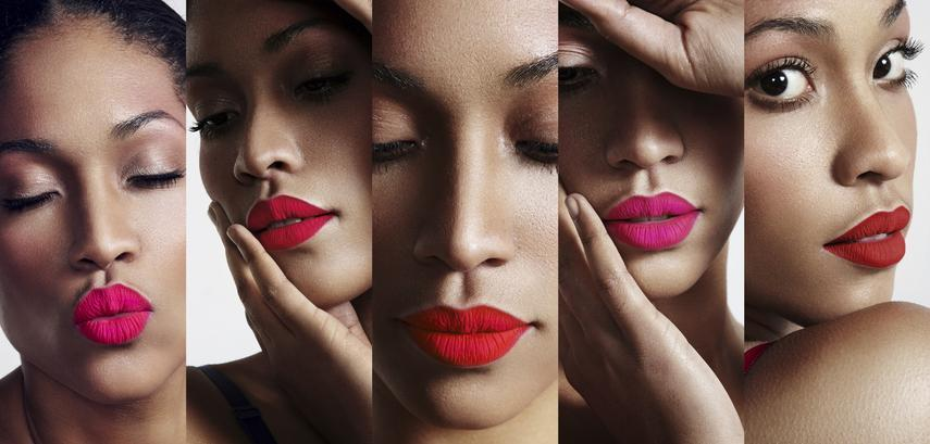 all about lips collage. cutted womans portraits with a bright l