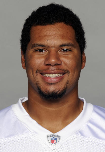 "FILE - This 2013 file photo shows Miami Dolphins' Andrew McDonald. McDonald's agent says the former Dolphins lineman, identified as Player A in the investigation of the racially charged bullying scandal, is ""disappointed his name has ""become associated with other players involved this story."" (AP Photo/File)"