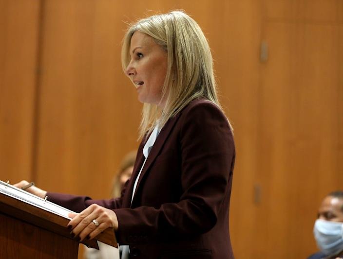 Oakland County Prosecutor Karen McDonald talks about Juwan Deering in the courtroom of Judge Jeffery Matis at the Oakland County Circuit Court in Pontiac during Deering's hearing on Tuesday, September 21, 2021.