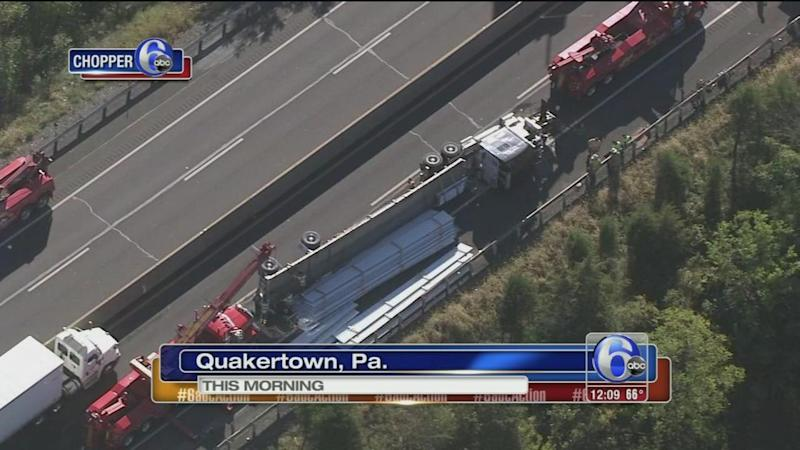 Tractor-trailer crashes on NE Extension of Pa  Turnpike