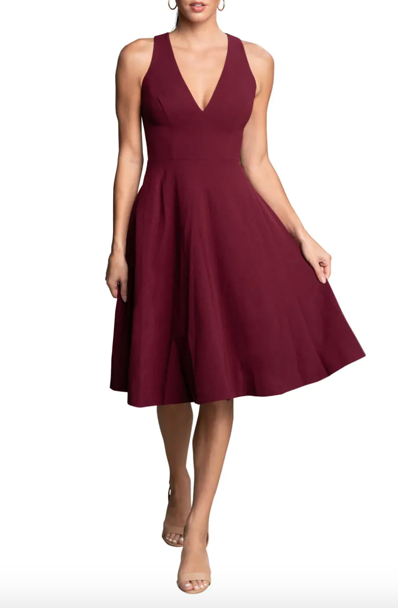 """<p><strong>Dress the Population </strong></p><p>nordstrom.com</p><p><strong>$182.00</strong></p><p><a href=""""https://go.redirectingat.com?id=74968X1596630&url=https%3A%2F%2Fwww.nordstrom.com%2Fs%2Fdress-the-population-catalina-fit-flare-cocktail-dress%2F4937787&sref=https%3A%2F%2Fwww.townandcountrymag.com%2Fstyle%2Ffashion-trends%2Fg12096491%2Fbest-fall-wedding-guest-dresses%2F"""" rel=""""nofollow noopener"""" target=""""_blank"""" data-ylk=""""slk:Shop Now"""" class=""""link rapid-noclick-resp"""">Shop Now</a></p><p>Craving a wedding guest dress that you don't have to reserve for weddings? This A-line burgundy frock is just the ticket. </p>"""