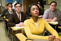 "<p><a href=""https://www.popsugar.com/entertainment/Hidden-Figures-True-Story-43076059"" class=""link rapid-noclick-resp"" rel=""nofollow noopener"" target=""_blank"" data-ylk=""slk:Based on a true story"">Based on a true story</a>, <strong>Hidden Figures</strong> chronicles the US and Russian race to the moon and the Black women that helped the US win. Despite racism and sexism from their colleagues, coupled with the other difficulties that came with being a Black woman in 1960s America, Katherine Johnson (Taraji P. Henson), Dorothy Vaughan (Octavia Spencer), and Mary Jackson (Janelle Monáe) get jobs at NASA and become instrumental in advancing the Space Race and restoring the nations faith in science.</p> <p><a href=""http://www.disneyplus.com/movies/hidden-figures/2xa2YdiOJXQt"" class=""link rapid-noclick-resp"" rel=""nofollow noopener"" target=""_blank"" data-ylk=""slk:Watch Hidden Figures on Disney+"">Watch <strong>Hidden Figures</strong> on Disney+</a>.</p>"