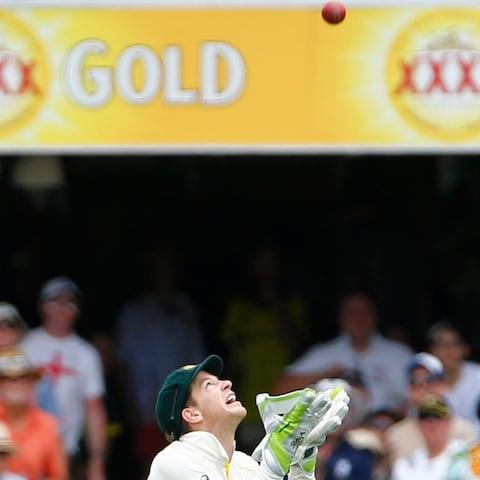 Paine waits for Bairstow's top-edged pull to drop - Credit: Jason O'Brien/PA