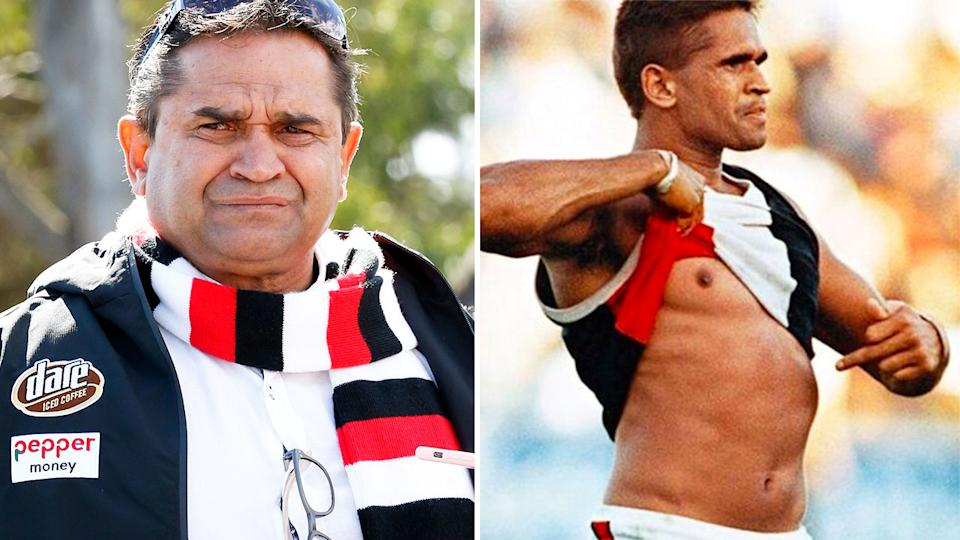 On the left, Nicky Winmar in retirement and on the right during his St Kilda playing days.