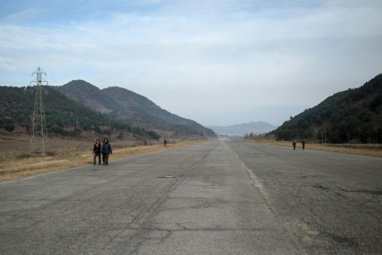 A section of the Pyongyang to Kaesong highway is shown in 2016. North Korean roads are largely poor and potholed, and in many areas they are dirt rather than tarmac