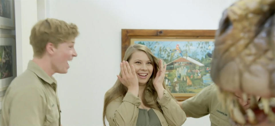 Bindi Irwin was left stunned by brother Robert's nursery makeover for baby Grace. Photo: Animal Planet.