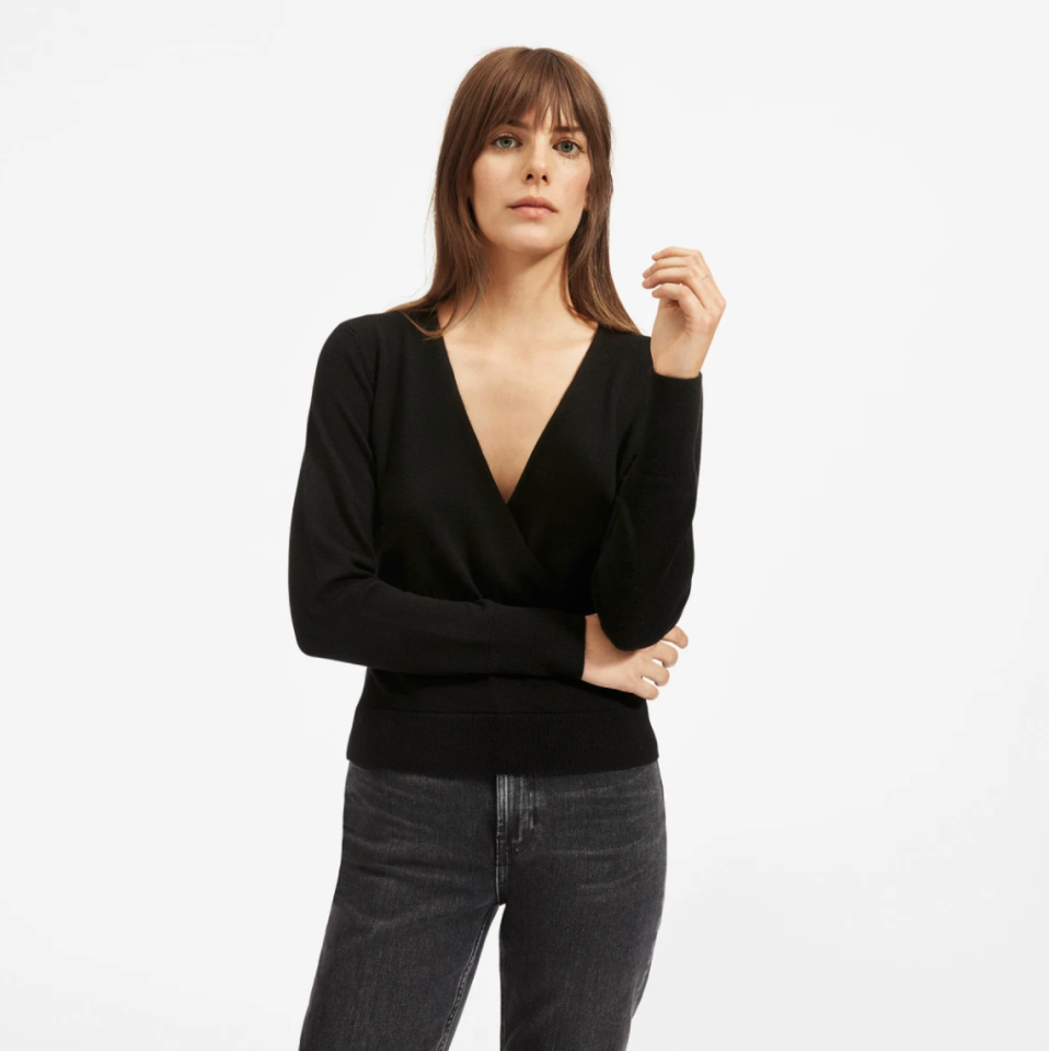 """$125, Everlane. <a href=""""https://www.everlane.com/products/womens-cashmere-wrap-sweater-black?collection=womens-100-dollar-cashmere"""">Get it now!</a>"""