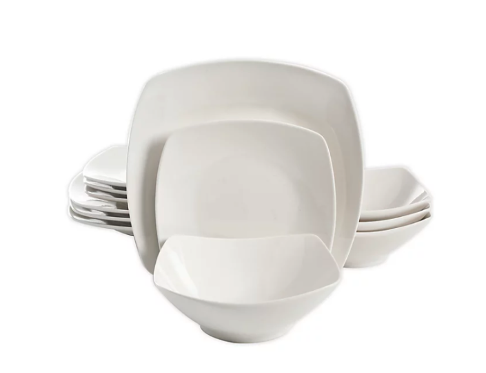 Soft Square 12-Piece Dinnerware Set in White. Image via Bed Bath and Beyond.