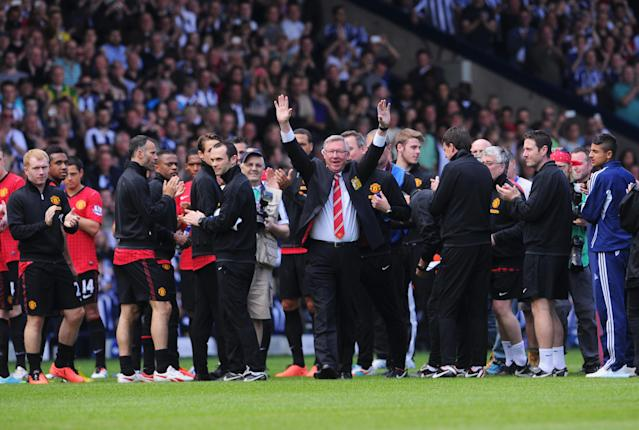 WEST BROMWICH, ENGLAND - MAY 19: Manchester United manager Sir Alex Ferguson salutes the crowd prior his 1,500th and final match in charge of the club ahead of the Barclays Premier League match between West Bromwich Albion and Manchester United at The Hawthorns on May 19, 2013 in West Bromwich, England. (Photo by Michael Regan/Getty Images)