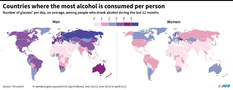 The heaviest drinkers: Countries were the most alcohol is consumed per person