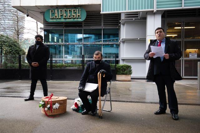 Aazim Ihsan, Ihsan Bashir whose brother was killed, and Docklands Victims Association president Jonathan Ganesh during the anniversary memorial service
