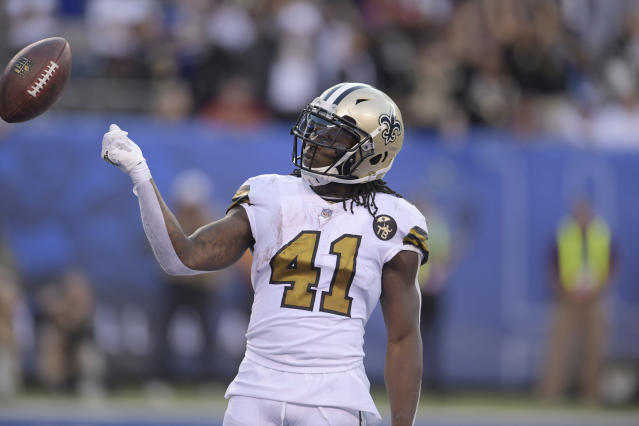 The confectionary that makes Airheads created a special flavor for New Orleans Saints' RB Alvin Kamara. (AP)