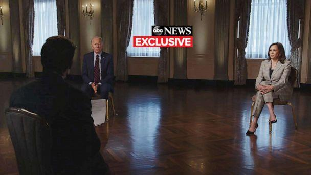 PHOTO: 'World News Tonight' anchor David Muir conducts a joint interview with Democratic presidential nominee Joe Biden and his running mate Sen. Kamala Harris, Aug. 21, 2020. (ABC News)