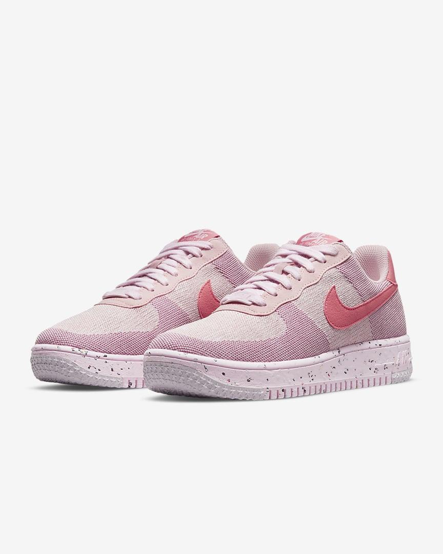 <p>These pretty in pink <span>Nike Air Force 1 Crater FlyKnit Women's Shoes</span> ($110) are made from 20 percent recycled materials. It has a linen-like texture on the body and a crater foam midsole.</p>