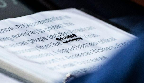 PHOTO: A close up of President Donald Trump's notes shows where the word corona in 'Corona Virus' was crossed out and replaced with 'Chinese' during a briefing at the White House on March 19, 2020, in Washington. (The Washington Post via Getty Images)