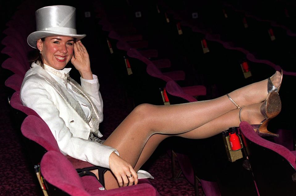 Brookside actress and star of the recent Comic Relief Celebrity Big Brother Claire Sweeney, dressed in her chorus line costume at a photocall promoting a Night of 100 Stars, A Salute to the Songs and Music of Marvin Hamlisch. * ...Broadway Overtures and A Chorus Line at the London Palladium.
