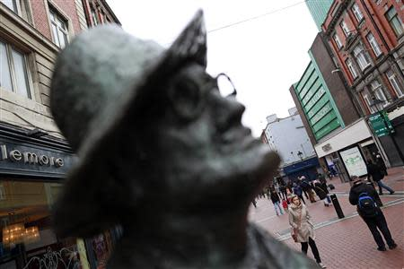 A statue of Irish writer James Joyce stands on O'Connell Street in Dublin