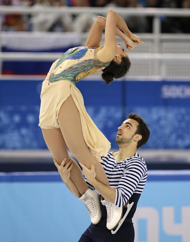 Sara Hurtado and Adria Diaz of Spain compete in the ice dance free dance figure skating finals at the Iceberg Skating Palace during the 2014 Winter Olympics, Monday, Feb. 17, 2014, in Sochi, Russia