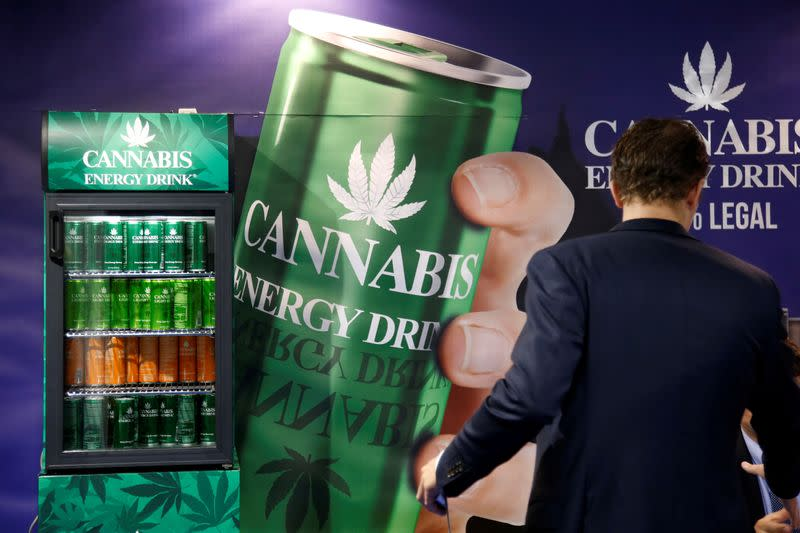 FILE PHOTO: Cans of Cannabis energy drink which contains real hemp seed extract are seen at the food exhibition Sial in Villepinte, near Paris