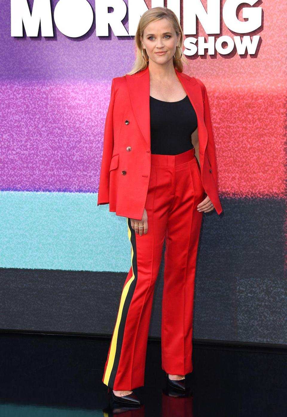 <p><strong>8 September </strong><br></p><p>Reese Witherspoon made a case for the red suit at The Morning Show photocall in Los Angeles. </p>