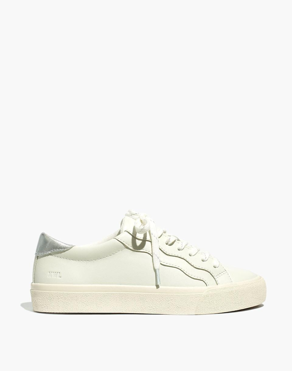 """<p><strong>Madewell</strong></p><p>madewell.com</p><p><a href=""""https://go.redirectingat.com?id=74968X1596630&url=https%3A%2F%2Fwww.madewell.com%2Fsidewalk-low-top-sneakers-in-leather-wave-edition-MC711.html&sref=https%3A%2F%2Fwww.marieclaire.com%2Ffashion%2Fg36053744%2Fmadewell-spring-sale-2021%2F"""" rel=""""nofollow noopener"""" target=""""_blank"""" data-ylk=""""slk:SHOP IT"""" class=""""link rapid-noclick-resp"""">SHOP IT</a></p><p><strong><del>$88</del> $53 (40% off)</strong></p><p>White leather sneakers defined the decade and aren't going anywhere anytime soon. This pair is made with Madewell's MWL Cloudlift insoles, which the brand describes as having a super cushy, ultra supportive feel. <br></p>"""