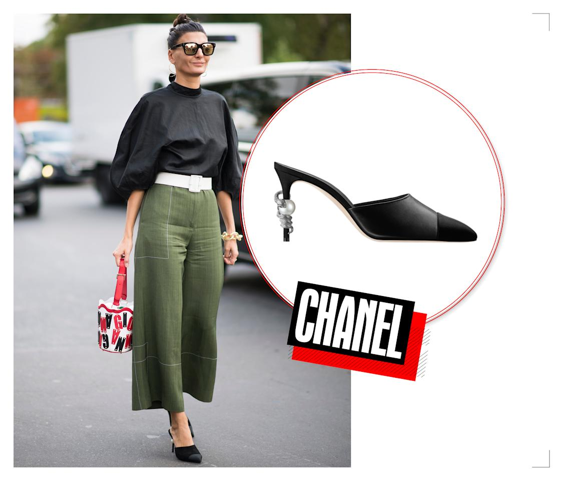 <p>Chanel's cap-toe mules are at the forefront of this season's must-have fall shoes. They were spotted on countless street-style stars, from AImee Song to Giovanna Battaglia. <i>(Photo: Giovanna Battaglia, Getty Images; heel, courtesy of Chanel)<i> </i></i></p>